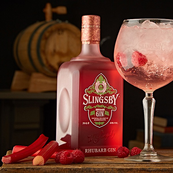 Slingsby Rhubarb Gin with G and T and botanicals