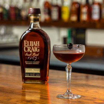 Elijah Craig cocktail in coupe glass