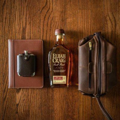 Elijah Craig with grooming kit and flask