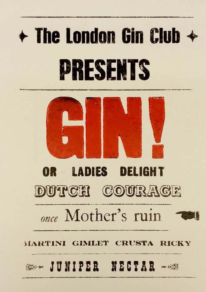 London Gin club playbill