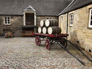 Strathisla Distillery Building ext, cart with barrels