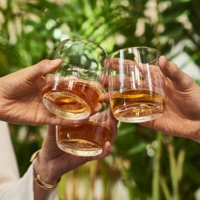 Glenlivet 15 year old in glass, toasting