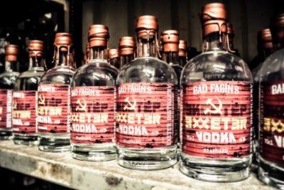 Bad Fagin's Exeter Vodka on a shelf