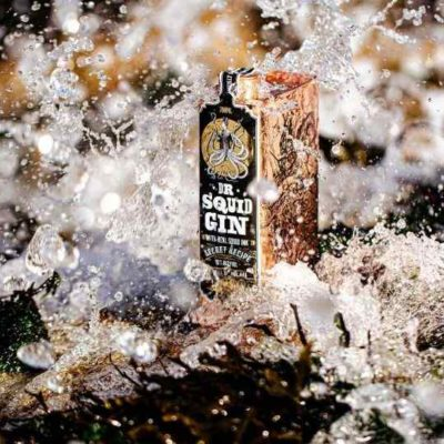 Squid Gin lifestyle in crashing waves