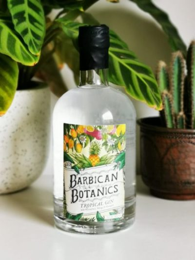 Barbican Botanics Tropical Gin in front of plants