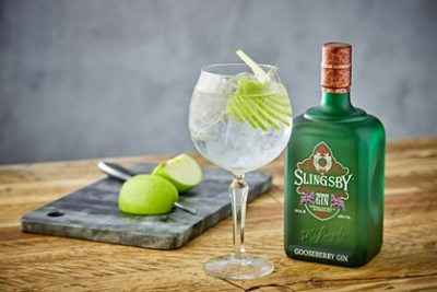 Slingsby Gooseberry withh chopping board and glass