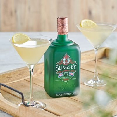 Slingsby Gooseberry with 2 martini glasses
