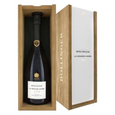 Champagne Bollinger La Grande Annee 2012 in angled wooden box